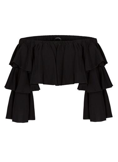 Nocturne Kat Kat Volanlı Bluz Siyah